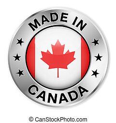 canada, gemaakt, badge, zilver