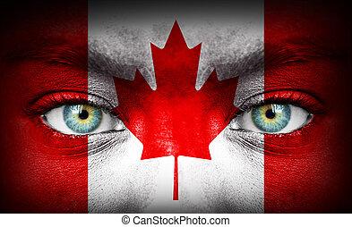 canada, geverfde, vlag, menselijk gezicht