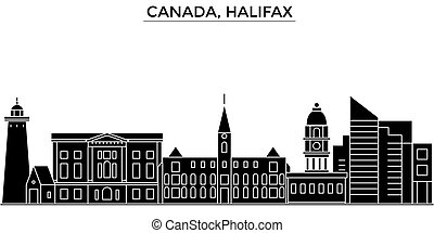Canada, Halifax architecture vector city skyline, travel...