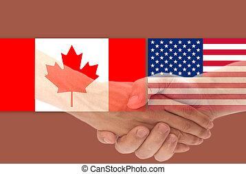 canada, handdruk, vlag, usa