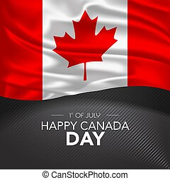 Canada happy day greeting card, banner, vector illustration. Canadian memorial holiday 1st of July design element with realistic flag with maple tree leaf, square format