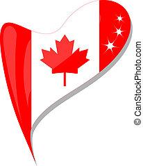 canada, hart, knoop, vorm., vlag, vector