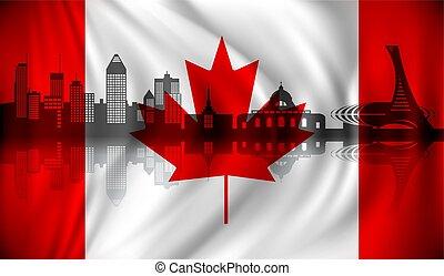 canada, horizon, drapeau, montréal