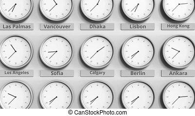canada, horloge, projection, dans, zones., animation, temps, mondiale, rond, calgary, 3d