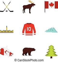 Canada icon set, flat style