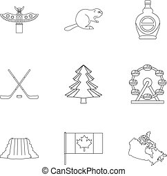 Canada icon set, outline style