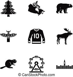 Canada icon set, simple style