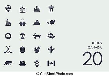 canada, icone, set