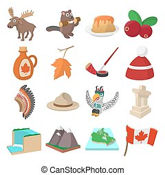 Canada icons cartoon