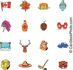 Canada icons set cartoon