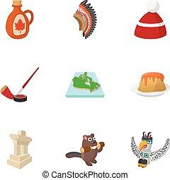 Canada icons set, cartoon style