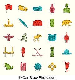 Canada icons set, doodle style