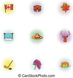 Canada icons set, pop-art style