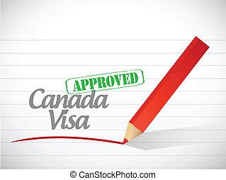 canada, illustration, signe, visa, conception, approuvé