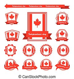 canada independence day flags infographic design