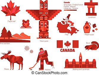 canada, info-graphic, signe, elements., symbole