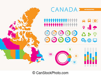Canada Infographic - An info graphic of Canada with map and...