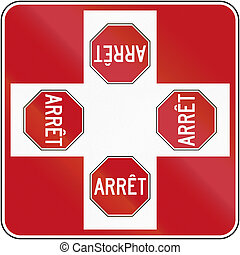 canada, intersection, 4-way, arrêt