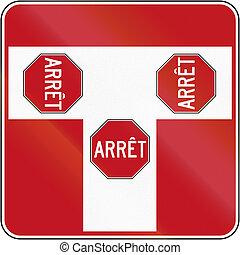 canada, intersection, arrêt, t