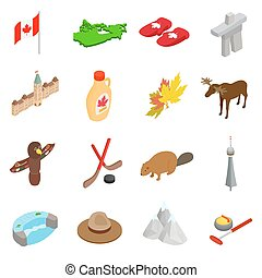 Canada isometric 3d icons set