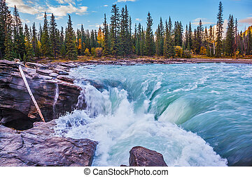 Canada, Jasper National Park - Scenic Athabasca Falls in...