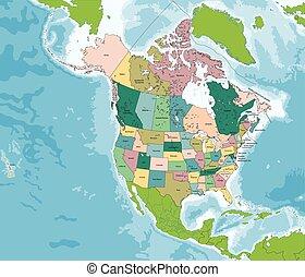 canada kaart, amerika, noorden, usa