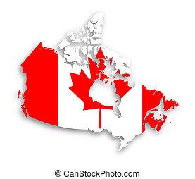 canada kaart, met, de, vlag, binnen