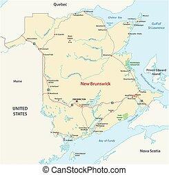 canada kaart, provincie, atlantische , nieuwe brunswick, ...