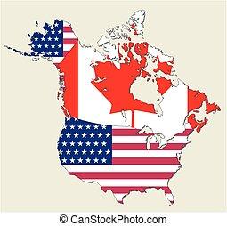 canada kaart, usa, staten, vlag, voorgestelde