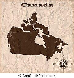 canada kaart, verfrommeld, oud, paper., illustratie, vector, grunge