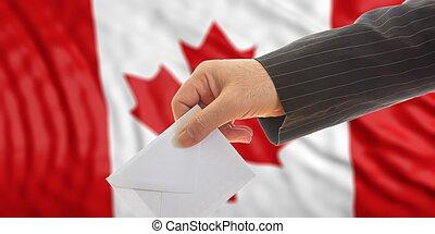 canada, kiezer, illustratie, achtergrond., vlag, 3d