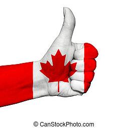 canada, kleuren, duim, geverfde, op, vrijstaand, vlag, hand
