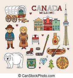 canada, kunst, doodle, reizen, vector, toerisme