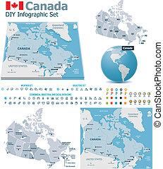 canada, landkaarten, tekenen