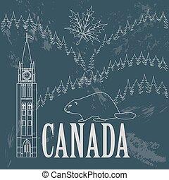 canada, landmarks., retro, disegnato
