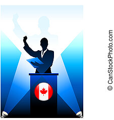 Canada Leader Giving Speech on Stage Original Vector Illustration