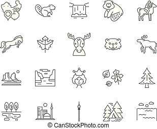 Canada line icons, signs, vector set, outline illustration concept
