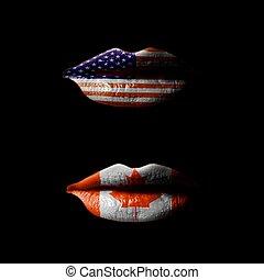 canada, lippen, vlaggen, usa