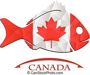 canada., logo, fish, fait, drapeau