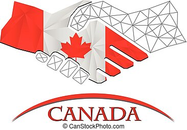 canada., logo, poignée main, fait, drapeau