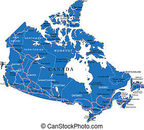 Canada map - Highly detailed vector map of Canada with...