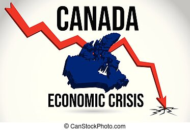 Canada Map Financial Crisis Economic Collapse Market Crash Global Meltdown Vector.