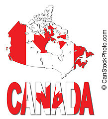 Canada map flag and text