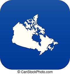 Canada map icon digital blue