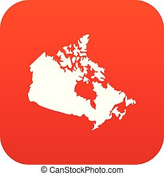 Canada map icon digital red