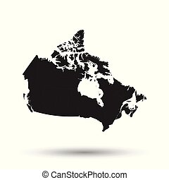 Canada map icon. Flat vector illustration. Canada sign symbol with shadow on white background.