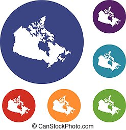 Canada map icons set