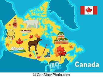 canada, map., illustratie