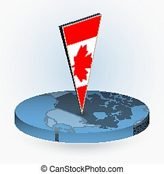 Canada map in round isometric style with triangular 3D flag of Canada
