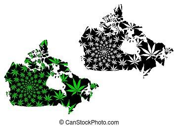 Canada - map is designed cannabis leaf